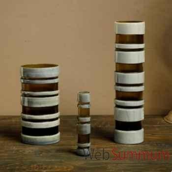 Lot de 3 vases gris-fumé Objet de Curiosité -VA033