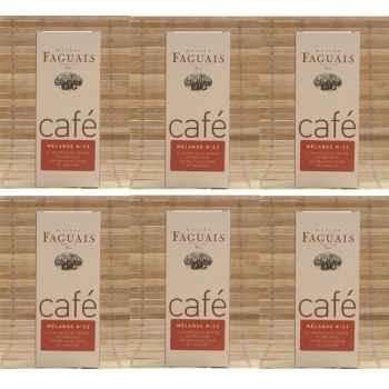 Maison Faguais-Lot de 6 paquets café mélange N° 22, supérieur corsé.