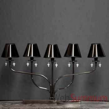 Lampe 5 branches avec croix en nacre Objet de Curiosité -LU061