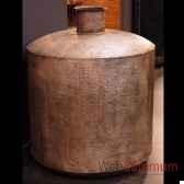 vase geant en acier plaque argent objet de curiosite da086