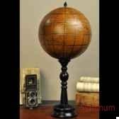 globe en cuir sur pied bois objet de curiosite da138