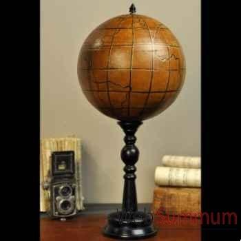 Globe en cuir sur pied bois Objet de Curiosité -DA138