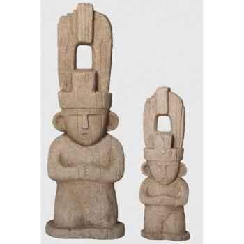 Statue maya 0.80 m aspect vieille pierre Rochers Diffusion -MF 80