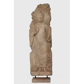 Bouddha en relief sculpte sur socle Rochers Diffusion -BSR 150