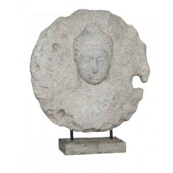 Medaillon en relief masque bouddha sur socle Rochers Diffusion -MBS 70