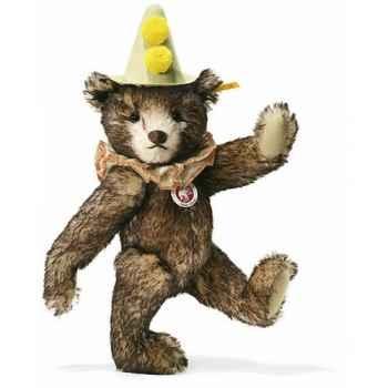 Peluche Steiff Ours Teddy clown mohair brun chiné -st003424