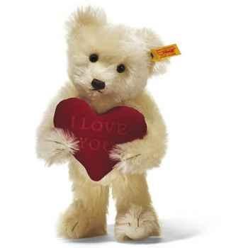 Peluche Steiff Ours Teddy I love you mohair crème -st002892