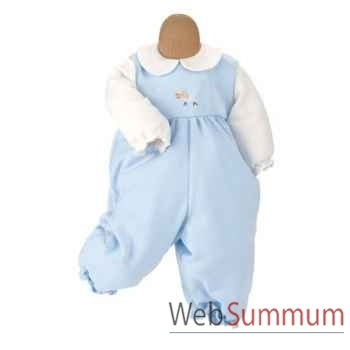 Kathe Kruse® - Vetement grenouillère bleu pour poupée bébé de 22 à 25 cm - 33873