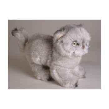 Peluche debout chat persan argenté 20 cm Piutre -2426