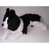 peluche allongee border collie 90 cm piutre 1216