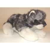 peluche allongee loup caucasien 22 cm piutre 1245