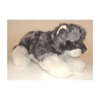 Peluche allongée loup caucasien 22 cm Piutre -1245