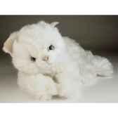 peluche couchee chat blanc 45 cm piutre 2442
