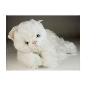 Peluche couchée chat blanc 45 cm Piutre -2442