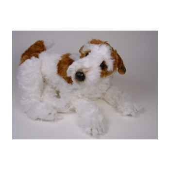 Peluche allongée fox terrier 60 cm Piutre -3276