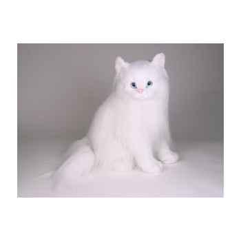 Peluche assise chat blanc angora 45 cm Piutre -2332