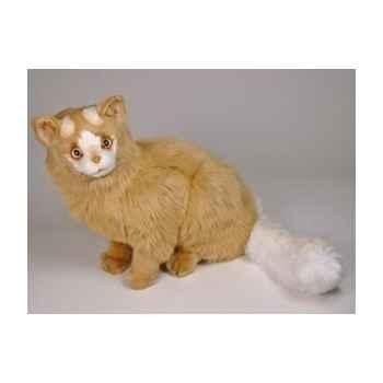 Peluche assise chat Turc de Van marron 45 cm Piutre -326