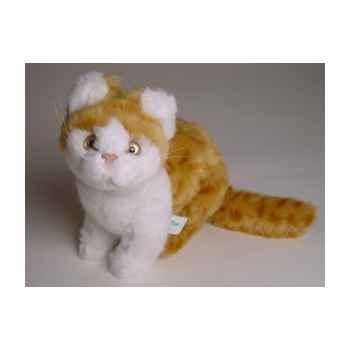 Peluche assise chat roux et blanc 23 cm Piutre -2342
