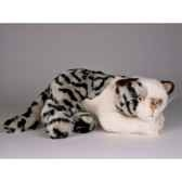 peluche allongee chat tachete 25 cm piutre 2338