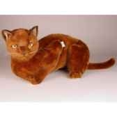 peluche allongee chat burmese 40 cm piutre 2329