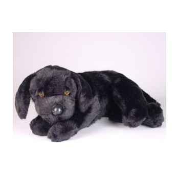Peluche allongée labrador retriever noir 40 cm Piutre -3341