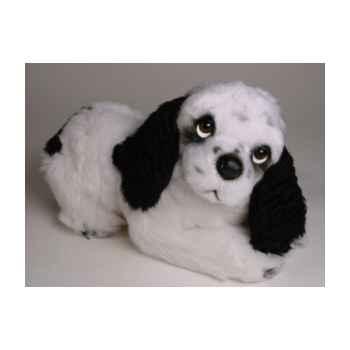 Peluche allongée cocker noir/blanc 35 cm Piutre -3206