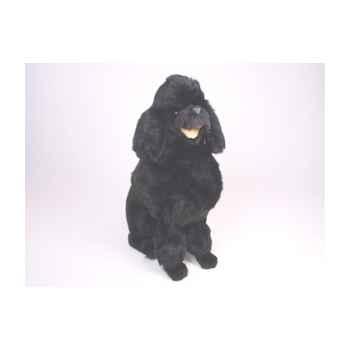 Peluche assise poodle noir 60 cm Piutre -252