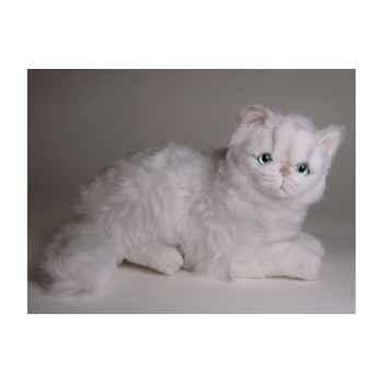 Peluche allongée chat persan chinchilla blanc 30 cm Piutre -2303