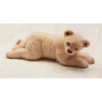 Peluche allongée lion blanc 55 cm Piutre -2539