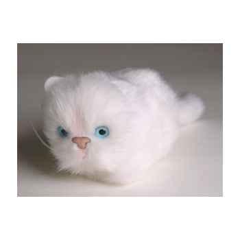 Peluche allongée chaton blanc 12 cm Piutre -2325