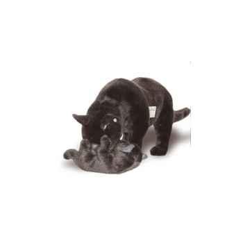 Peluche debout chat bleu de Russie avec chaton qui joue 60 cm Piutre -2355