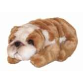 peluche allongee miniature bulldog 23 cm piutre 4296