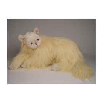 Peluche allongée chat angora beige 45 cm Piutre -2335