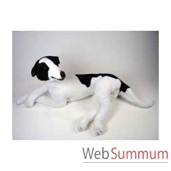 Peluche allongée Lévrier greyhound 75 cm Piutre -3230