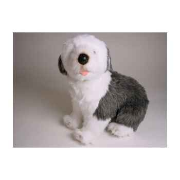 Peluche assise  chien Berger Anglais 45 cm Piutre -3295