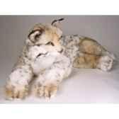 peluche allongee lynx 70 cm piutre 2553