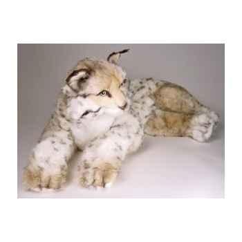 Peluche allongée lynx 70 cm Piutre -2553