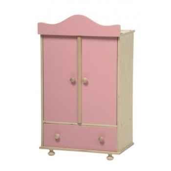 Armoire en bois vêtements poupée rose -0760R