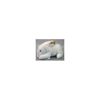 Peluche allongée lapin marron et blanc 30 cm Piutre -711