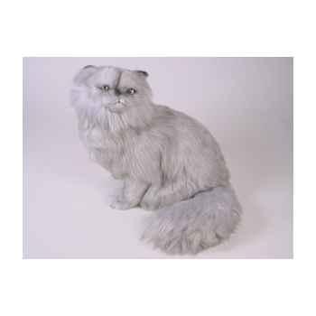 Peluche assise chat persan argenté 40 cm Piutre -2424
