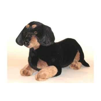 Peluche allongée teckel dachshund 60 cm Piutre -1211