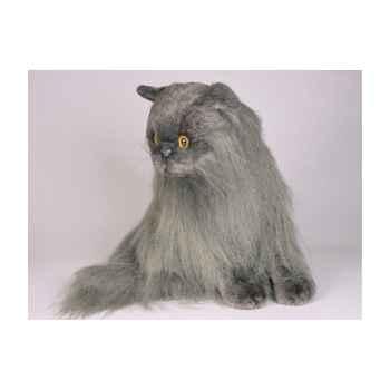 Peluche assise chat angora gris 45 cm Piutre -2334