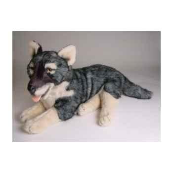 Peluche allongée loup caucasien 52 cm Piutre -1243