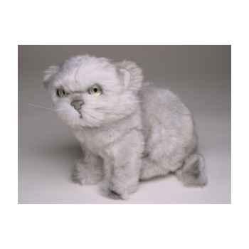 Peluche assise chat persan argenté 20 cm Piutre -2427