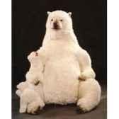 peluche assise ours polaire avec son petit 180 cm piutre 2101