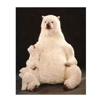 Peluche assise ours polaire avec son petit 180 cm Piutre -2101