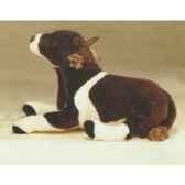 peluche allongee vache marron et blanche 55 cm piutre 2669