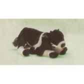peluche allongee vache noire et blanche 38 cm piutre 2689