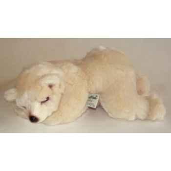 Peluche allongée ours polaire 35 cm Piutre -2123