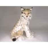 peluche assise lynx 55 cm piutre 2552